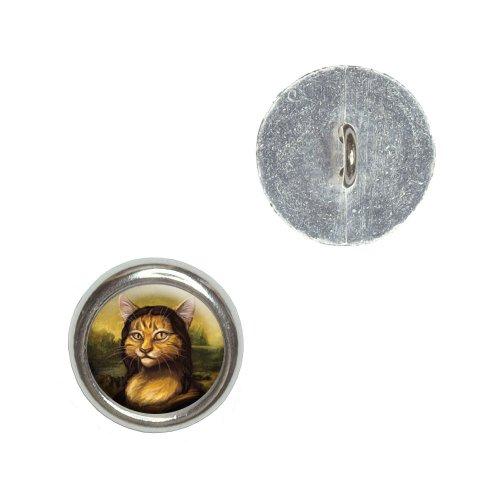 Meowna Lisa Cat Parody - Mona Lisa Leonardo Da Vinci Metal Craft Sewing Novelty Buttons - Set Of 4 front-72991