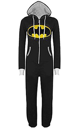 ThumbLike Womens Superman Batman Logo Print Unisex Hoodie Jumpsuit Pajama