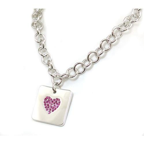 Foxy Pink Stone Set Heart Charm T-Bar Necklace