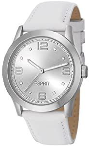 Esprit Galaxis Women's Quartz Watch with Silver Dial Analogue Display and White Leather Strap ES105512002