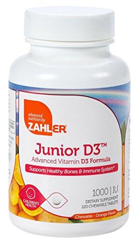 Zahler Junior D3 Chewable 1000IU, Kids Vitamin D, Great Tasting Chewable Vitamin D for Kids, Optimal Vitamin D3 1000 IU for Children,Certified Kosher, 120 Chewable Tablets (Liquid Vitamin D3 1000 Iu compare prices)