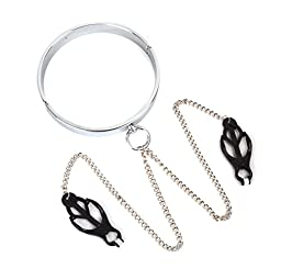 Mandydov BDSM Fetish Sex Slave Zine-alloy Lockable Neck Ring Collar & Nipple Clip Clamp for Men