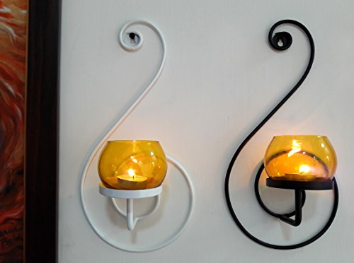 TIEDRIBBONS Decorative Tlight Holder /wall Sconce Holder Pack Of 2(Black, Metal) With T-light Candle