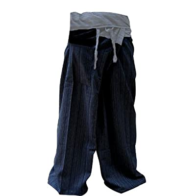 2 Tone Thai Fisherman Pants Yoga Trousers Free Size Plus Size Cotton Dark Blue and Drill Striped Gray By Hugdethailand from Thailand