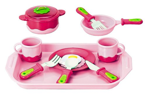 Cook and Serve Breakfast Playset for Kids with Pink Tray, Kitchen Cookware, Pots and Pans, Egg Play Food - 1