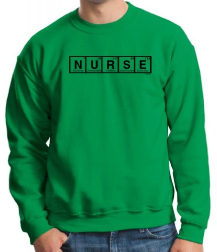 Nurse Spelled With Periodic Table Elements Crewneck Sweatshirt Large Green