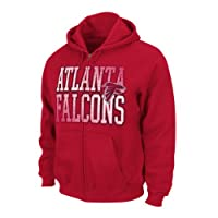 NFL Atlanta Falcons Touchback V Full Zip Hooded Sweatshirt, Bright Cardinal, X-Large from NFL