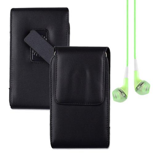 Premium Faux Leather Vertical Swivel Belt Clip Holster For Samsung Galaxy Mega 6.3 Mega 5.8 Nokia 1520 Lumia 1320 - Black + Green Vangoddy Headphone