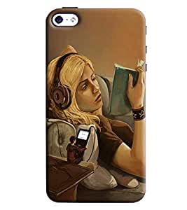 Blue Throat Girl Reading Book Printed Designer Back Cover/ Case For Apple iPhone 4s
