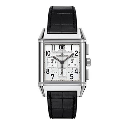 Jaeger LeCoultre Reverso Squadra Chronograph Silver Dial Black Leather Mens Watch Q7018420