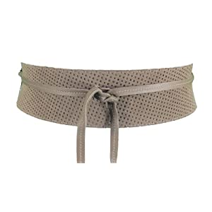 Eileen Fisher Sand Perforated Italian Leather Obi Belt Medium