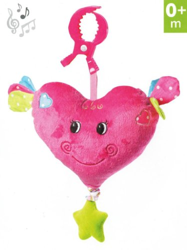Musical Hanging Toy with Pull Cord -- For Pram, Strollers, Cots, Cribs, Car Seats, Booster Seats -- Design: LOVE HEART