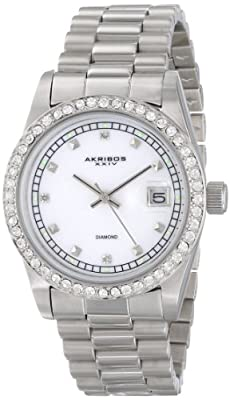 Akribos XXIV Men's AK488SS Diamond Quartz Stainless Steel Bracelet Watch