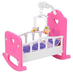You And Me Baby Doll Rocking Cradle Pink Hearts