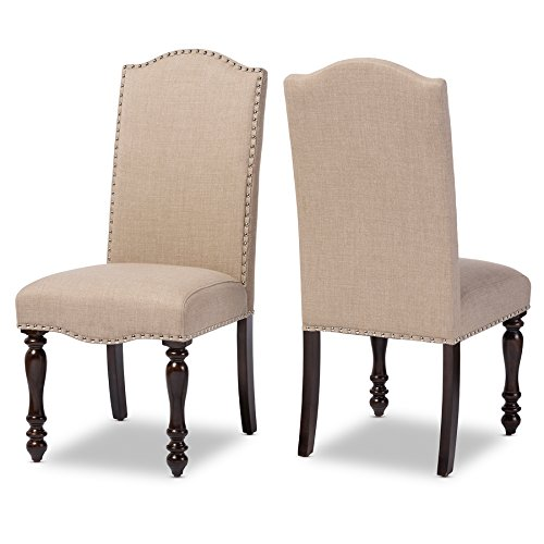 Baxton Studio Zachary Chic French Vintage Oak Brown Beige Linen Fabric Upholstered Dining Chair 2