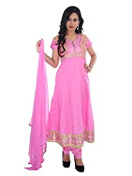 Diva Fusion Womens Cotton Anarkali Semi-Stitched Dress Material (Dfa164 _Pink)