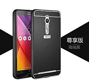 Asus Zenfone 2 Luxury Aluminum Frame With Acrylic Back Bumper Case Cover (Black)
