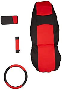 3A Racing 25-5011 Red and Black Neoprene Seat Cover Set - 5 Piece set PLUS CD holder