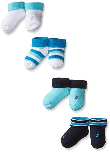 Nautica Baby-Boys Newborn 4 Pack Booties, Aqua, 0-6M