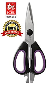 Kitchen Shears , kitchen scissors ICEL Cutlery Quality, Multipurpose shears Scissors for beer Cap ,bottle, Jar Opener, Purple Chicken, Poultry, Fish, Meat, Vegetables, Herbs, and BBQ's - Very Sharp