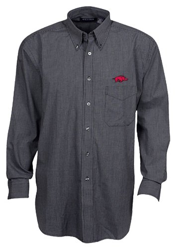 NCAA Arkansas Razorbacks Men's Long Sleeve Button Down Woven Shirt, Black/White, Large at Amazon.com