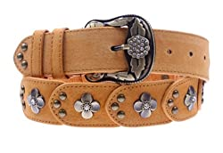 Herebuy - Vintage Leather Belts for Women Western Cowgirl Rhinestone Belts (Camel)