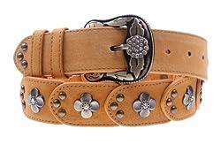 Herebuy - Vintage Leather Belts for Women Western Cowgirl Rhinestone Belts (Camel)