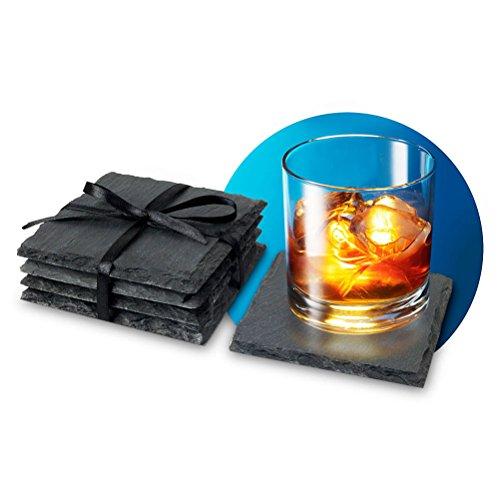 4er Set Schieferuntersetzer für Gläser Schiefer Untersetzer Küchendekoration 10 cm