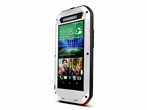 Queens® Waterproof Case Cover For Htc One E8, Aluminum Hard Metal Corning Gorilla Glass Shockproof Dustproof Snowproof Water Resistant Protective Case For Htc One E8 (1-White Queens Case Cover For Htc One E8) front-154239
