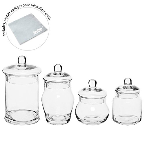 Set of 4 small clear glass bath apothecary jars display for Clear bathroom containers