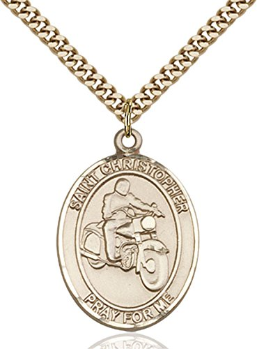 14K Gold Filled Saint Christopher Motorcycle Riding Medal Pendant, 1 Inch