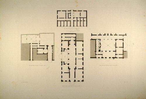 1860 Antique Engraving Renaissance Palaces Floor Plans Rome Architecture - Original Copper Engraving