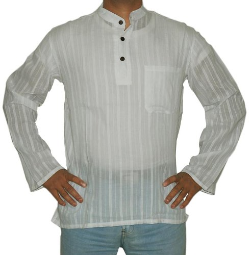 Indian Cotton Casual Wear Short Kurta with Standing Collar Neckline Size XXL