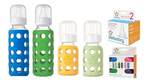 Lifefactory Glass Baby Bottles 4 Pack Starter Kit with Colored Caps (9 oz. & 4 oz. - Boys)