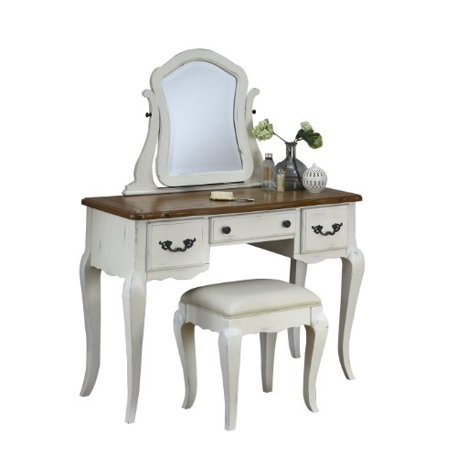 White Bedroom Vanity With Mirror front-63003