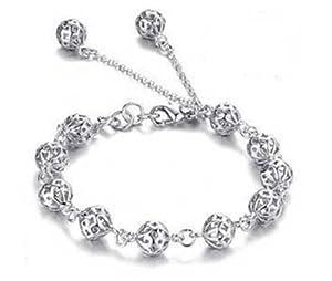 Bracelet FindOut sphérique creuse Perles en argent sterling 925 femmes plaqué(f001)