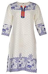 Tarang Mart Women's Cotton Straight Kurta (TM-K118, White, XL)