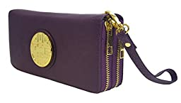 Canal Collection Double Zipper Around PVC Leather Wristlet Clutch Organizer Wallet with Emblem (Purple)