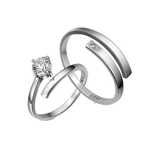 numeis-pair-of-womens-rings-diamond-and-925-sterling-silver-simple-adjustable-rings