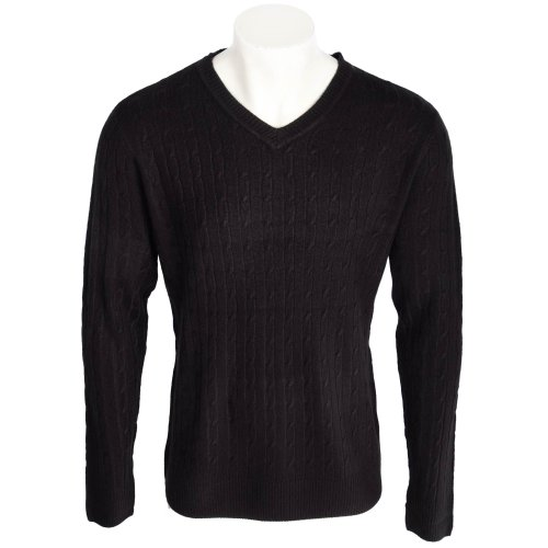 Harbour Classic Men's Black All Over Cable Knit V-Neck Jumper In Size 3XLarge