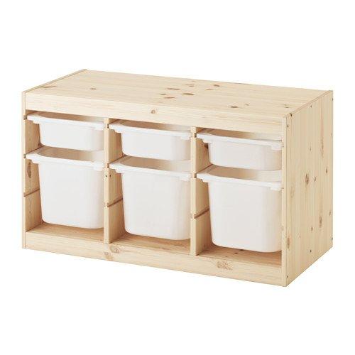 【IKEA/イケア】TROFAST 収納コンビネーション, パイン材 ホワイト, ホワイト