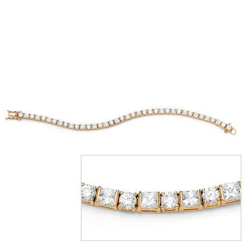 Round and Princess-Cut Cubic Zirconia 14k Gold-Plated Tennis Bracelet 7 1/4