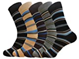 MENS DRESS SOCKS STRIPE COTTON BLEND 12-PAIRS SIZE 9-11