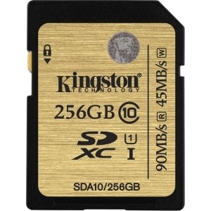 Kingston 256 GB Secure Digital Extended Capacity (SDXC) - Class 10/UHS-I - 90 MBps Read - 45 MBps Write - 1 Card - 300x Memory Speed - SDA10/256GB