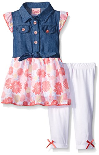 Nannette Little Girls 2 Piece Chambray Top With Printed Chiffon and Legging Set, Blue, 24 Months