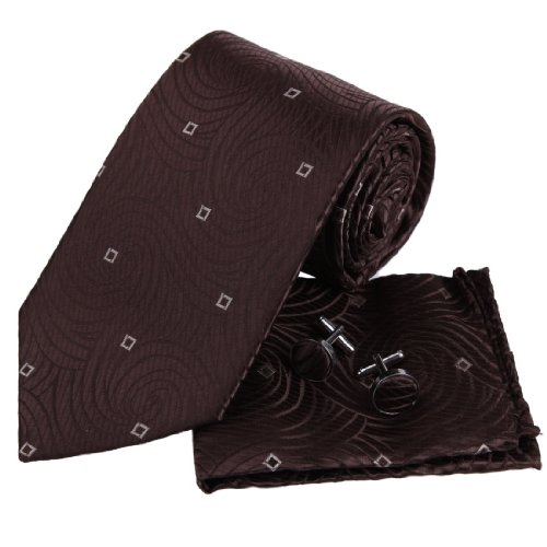 PH1058 Brown Stripes Silk Ties Cufflinks Hanky Thank You Gifts By Epiont