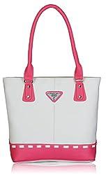 Fantosy Women's Handbag (White and Pink) (FNB-319)