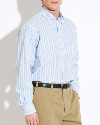Savile Row Men's Blue White Pink Stripe Oxford Buttondown Collar Casual Shirt Size Medium
