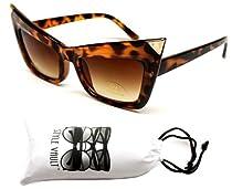 W79-vp Cat Eye Sharp Vintage Retro Sunglasses Womens (tortoise/gold w pouch, uv400)
