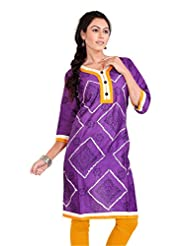 Pranjal Women's Satin Cotton Pure Bandhej With Block Print Purple Colour Straight Kurta